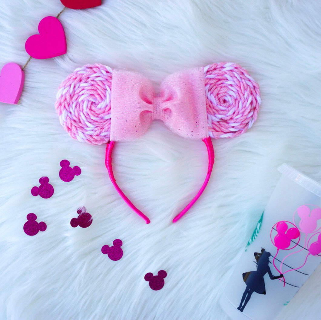 Pink x White Lollipop Minnie Mouse Ears
