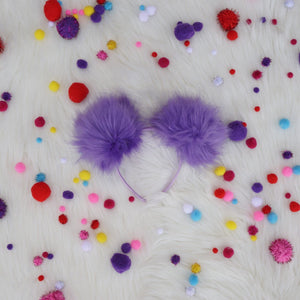 Purple Pom Poms Minnie Mouse Ears