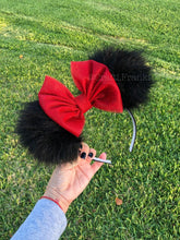 Load image into Gallery viewer, Black Pom Poms x Red Glitter Bow Minnie Mouse Ears