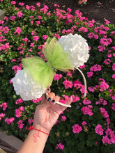 Load image into Gallery viewer, Green x White Faux Hydrangea Flower Ball Fairy Minnie Mouse Ears