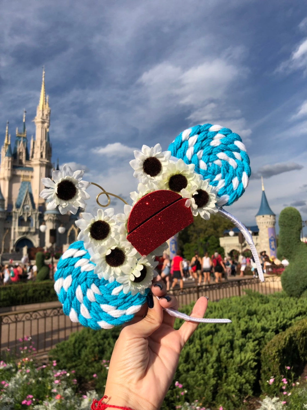 Blue Vintage Daisy Lollipop Minnie Mouse Ears