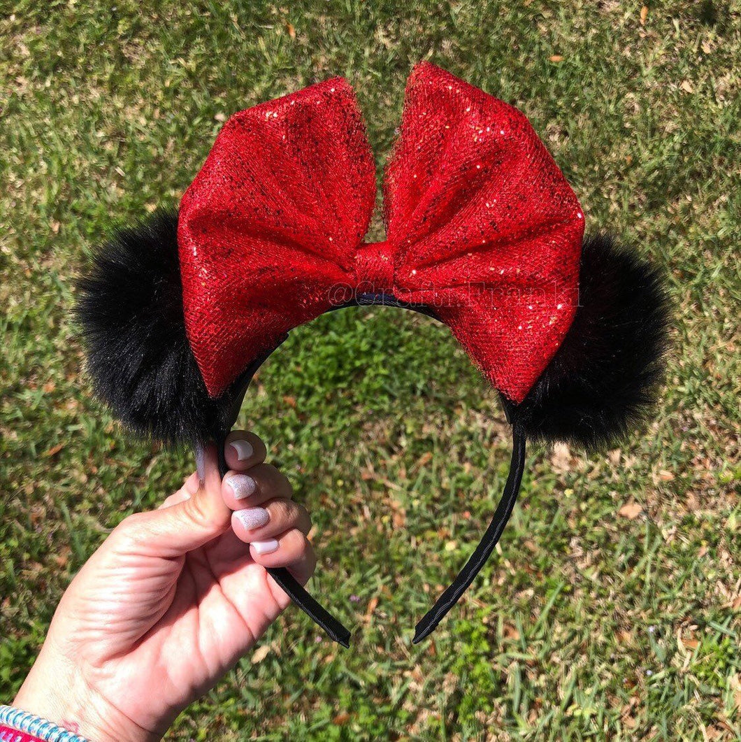 Girls Black Pom Poms x Red Glitter Bow Minnie Mouse Ears
