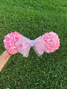 Light Pink Faux Hydrangea Flower Ball Minnie Mouse Ears
