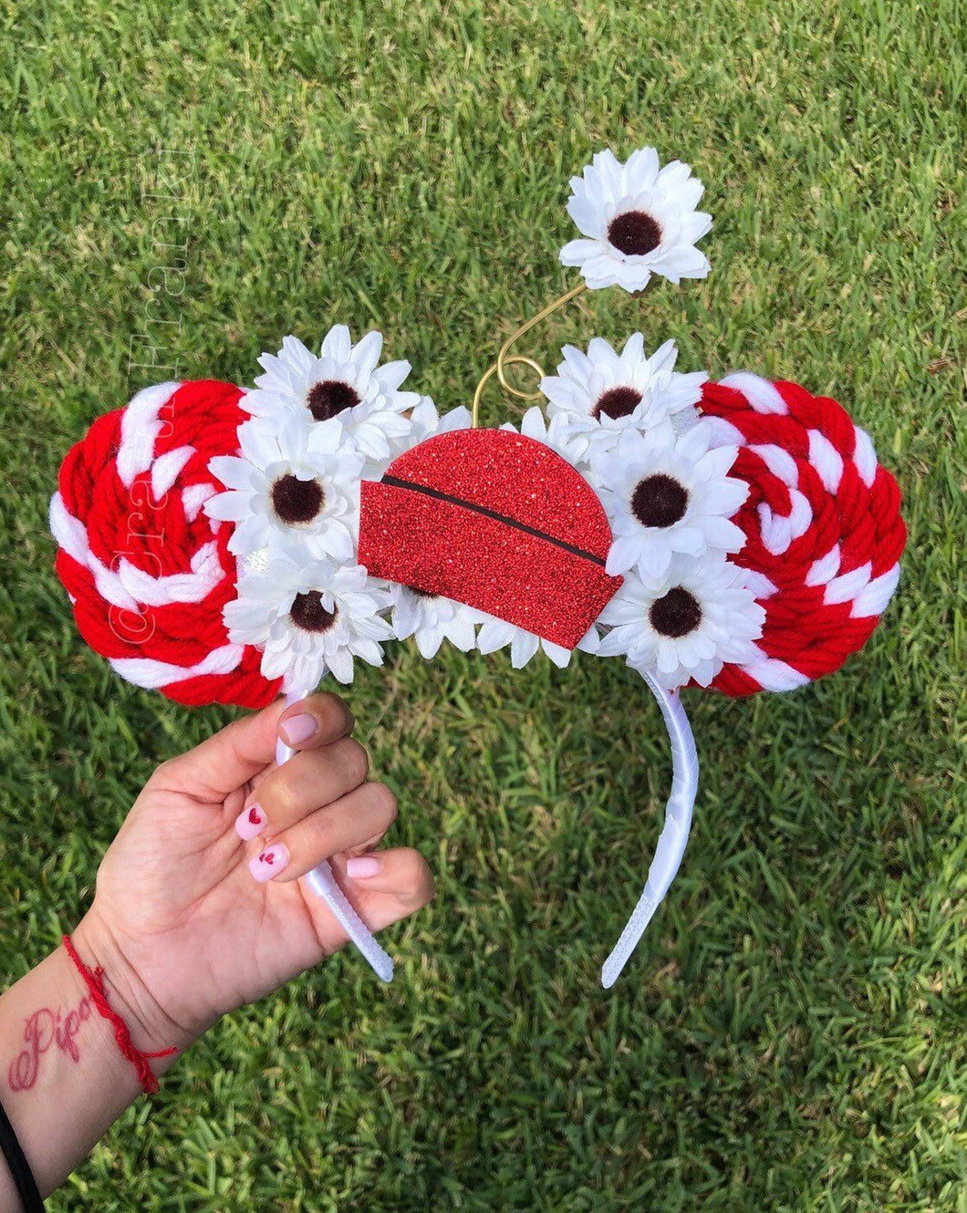 Red Vintage Daisy Lollipop Minnie Mouse Ears