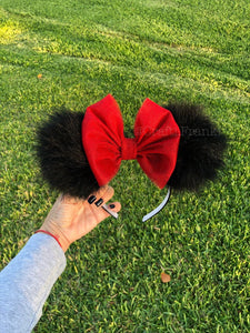 Black Pom Poms x Red Glitter Bow Minnie Mouse Ears