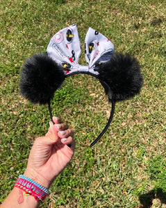 Girls Black Pom Poms x Incredibles Bow Minnie Mouse Ears