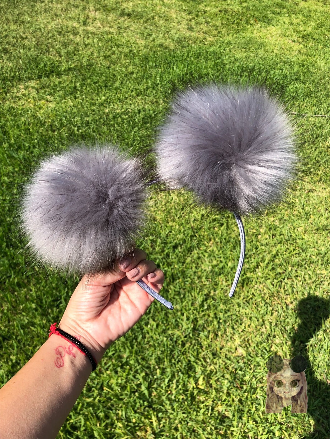Gray Pom Poms Minnie Mouse Ears