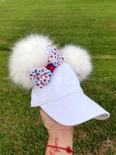 Load image into Gallery viewer, White PomPom Dad Cap * Removable Bow *