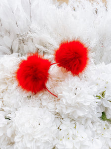 Red Pom Poms Minnie Mouse Ears