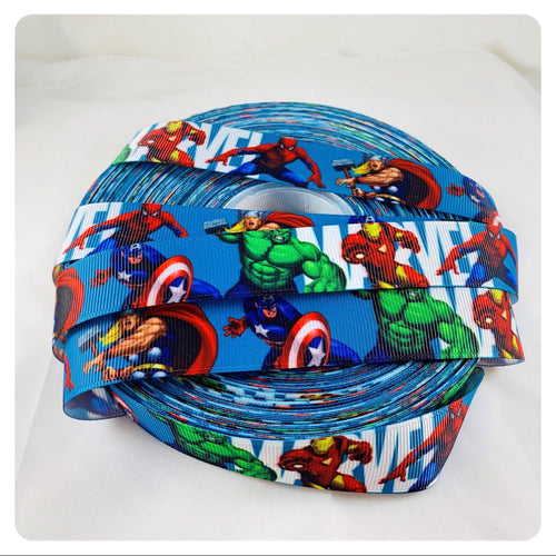 Marvel Avengers Blue x White Ribbon Bow * Pom Cap Removable Bow