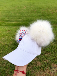 White PomPom Dad Cap * Removable Bow *