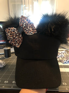 Black PomPom Dad Cap * Removable Bow (adults & youth)