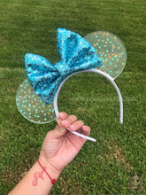 Load image into Gallery viewer, Pearly Blue Confetti Translucent Mouse Ears