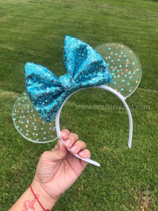 Pearly Blue Confetti Translucent Mouse Ears