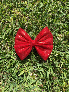 Red Chunky Glitter Tulle Bow