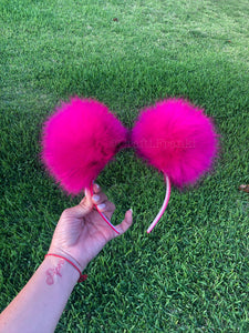 Hot Pink Pom Poms Minnie Mouse Ears