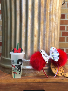 Red Pom Poms x Incredibles Bow Minnie Mouse Ears