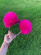 Load image into Gallery viewer, Hot Pink Pom Poms Minnie Mouse Ears