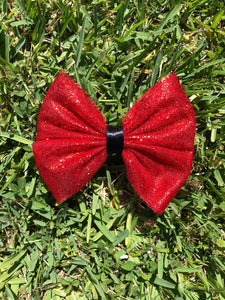 Chunky Red Glitter x Black Ribbon Tulle Bow