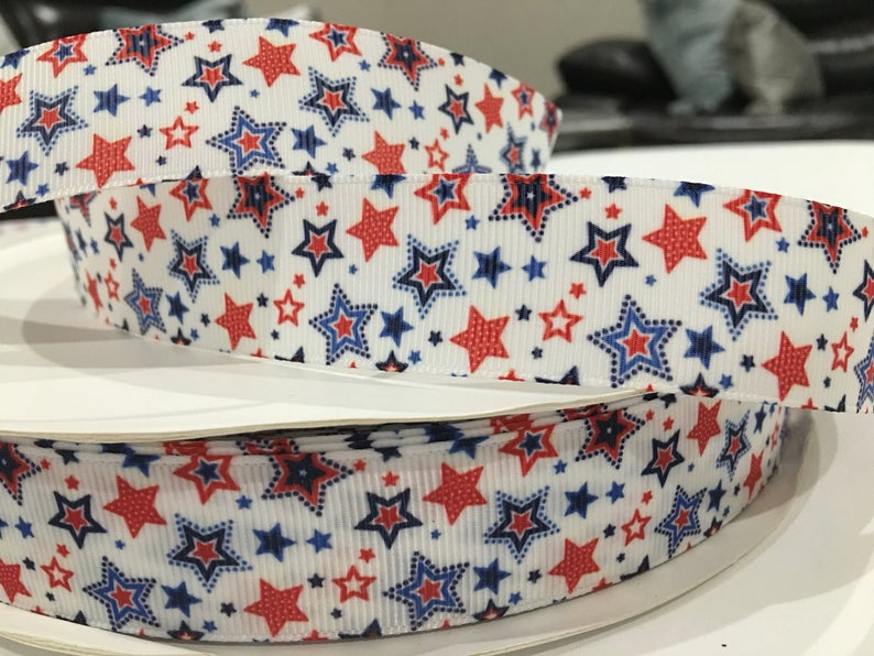 Patriotic x Blue Ribbon Bow * Pom Cap Removable Bow