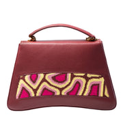 Tati Boduch Designer Handbag, Jasper Collection, Genuine Leather: Brown, Knitwear: Magenta