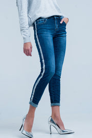 Dark Wash Jeans With Silver Shiny Side Stripe