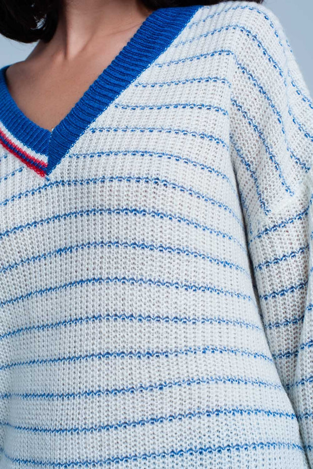 Blue Striped Sweater With V-Neck