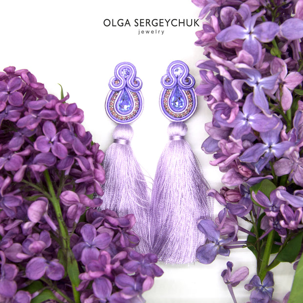 Long Tassel Earrings In Violet Color