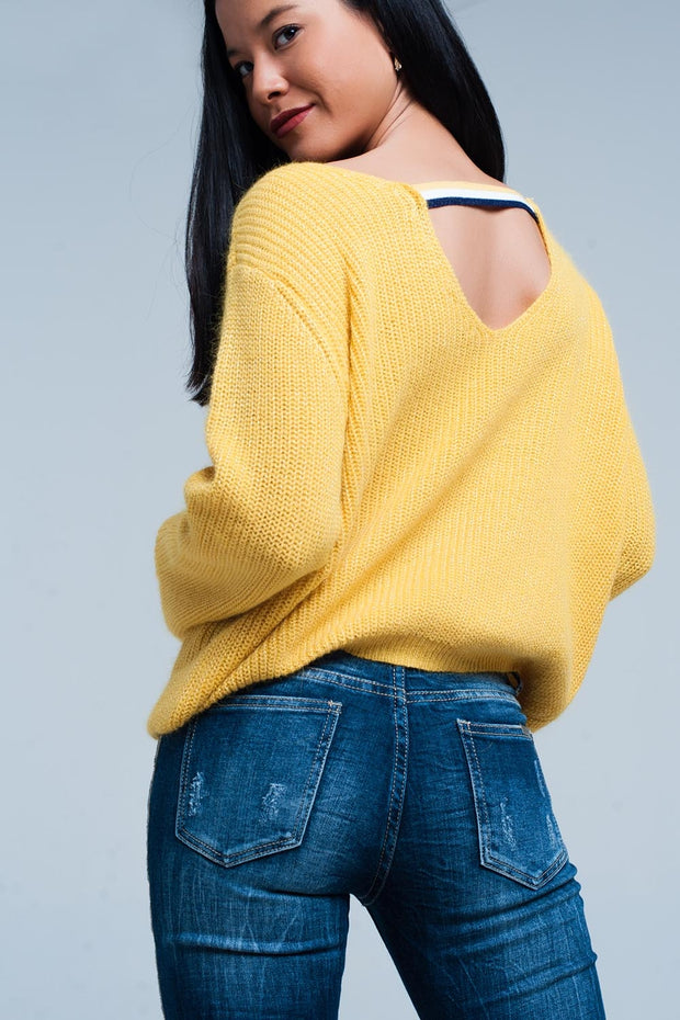 Mustard Sweater With Open Back Detail