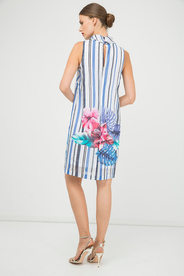 Print Sleeveless Dress With Upright Collar