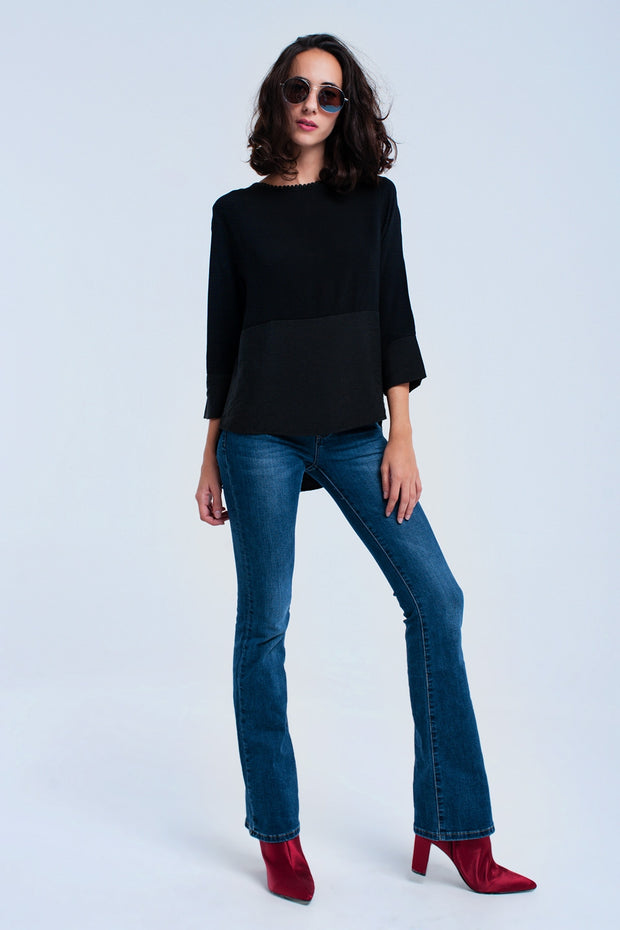 Black Mixed Top With Crochet Detail