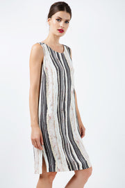 Striped Straight Dress With Belt