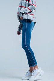 Fringed Skinny Jeans With Strass Side Stripe
