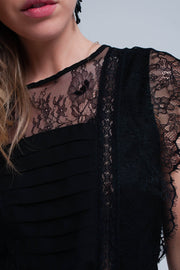 Black Midi Dress With Lace