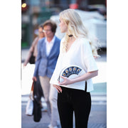 Feather White Crossbody Clutch