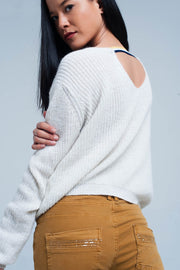 White Sweater With Open Back Detail