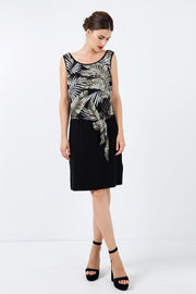 Print Layer Dress With Tie Detail