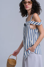 Cream Top With Blue Stripes