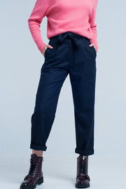 Navy Wide Pants With Bow Tie