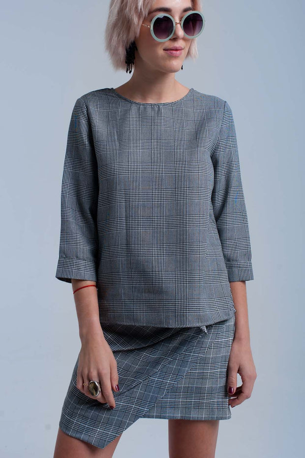 Gray Tartan Pattern Top With Ribbons