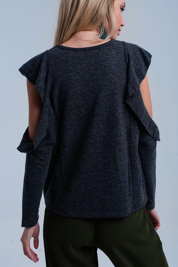 Dark Gray Top With Ruffle And Open Detail