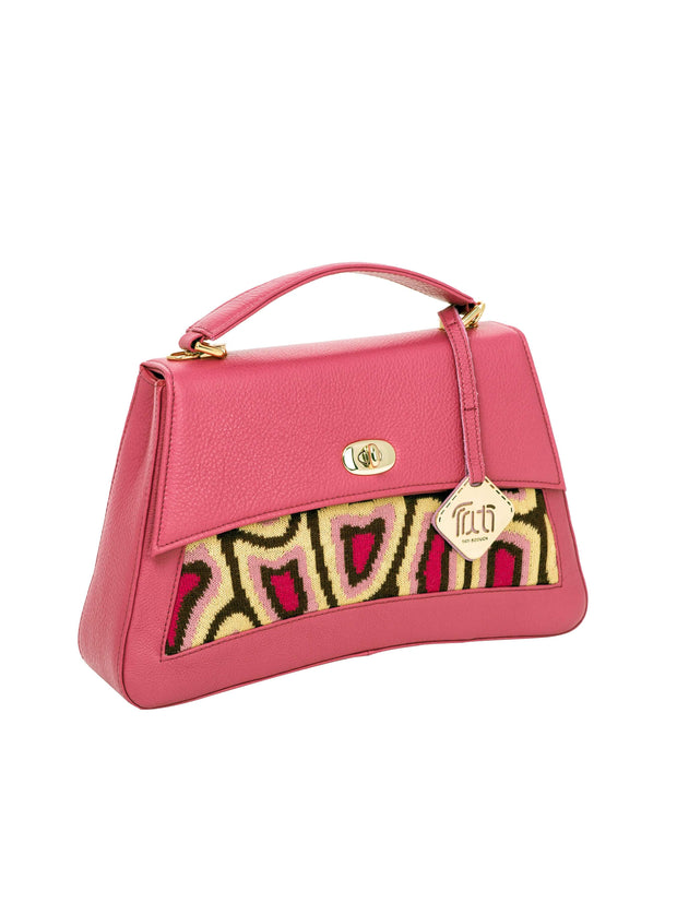 Tati Boduch Designer Handbag, Jasper Collection, Genuine Leather: Pink, Knitwear: Magenta