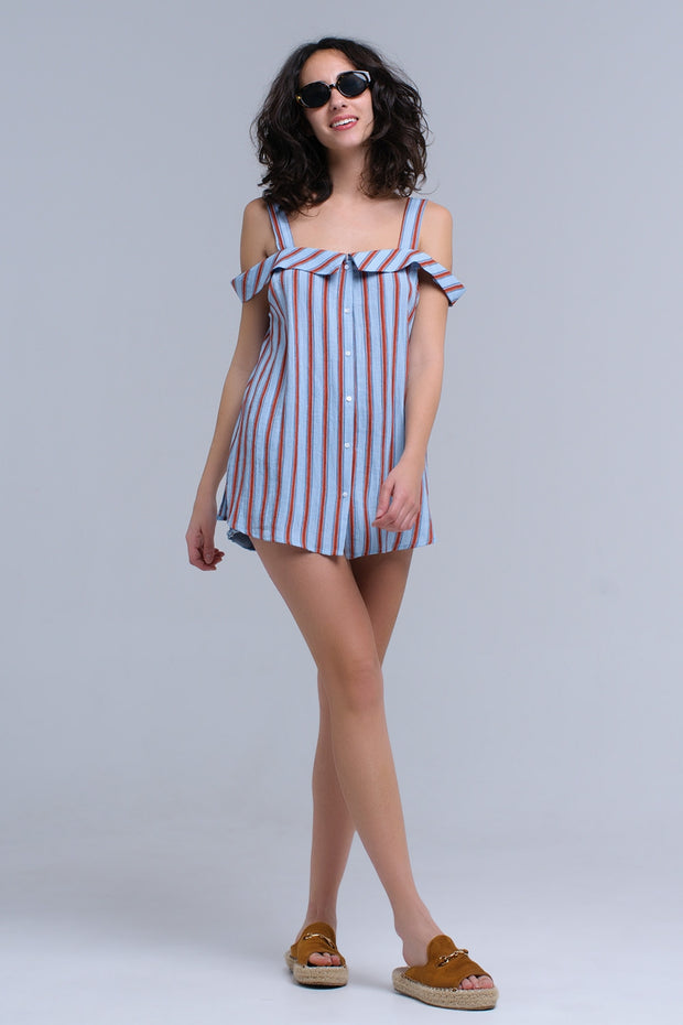 Blue Top With Orange Stripes