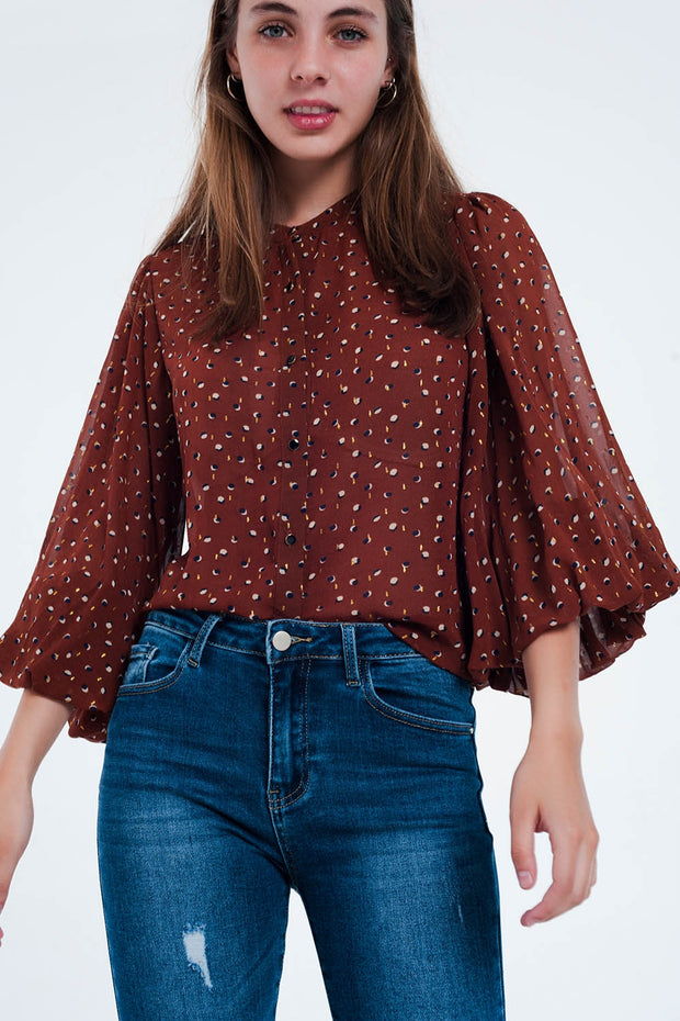 Brown Printed Sheer Shirt