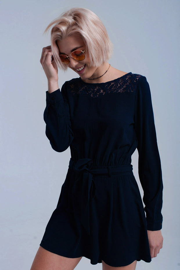 Navy Jumpsuit With Lace
