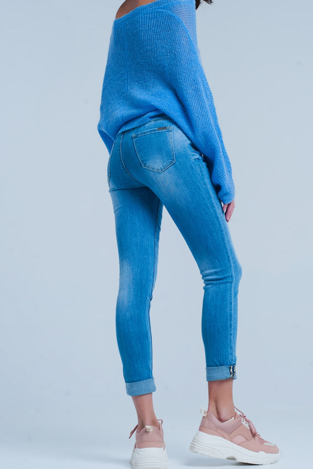 Skinny High Waist Jeans With Leopard Detail