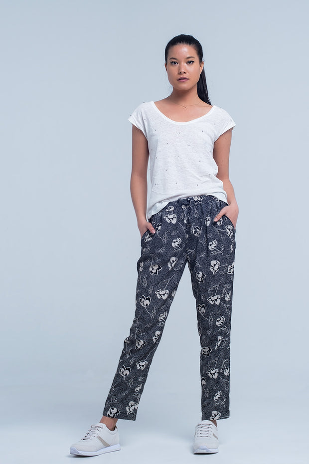 Black Pants With Floral Print