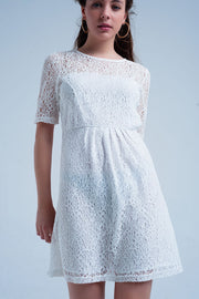 White Lace Short Sleeve Mini