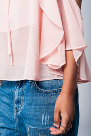Light Pink Cold Shoulder Top