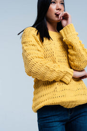 Mustard Dropstitch Knitted Sweater